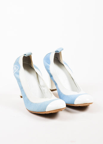 Chanel Light Blue and White Denim Patent Leather Cap Toe Block Heel Pumps Frontview