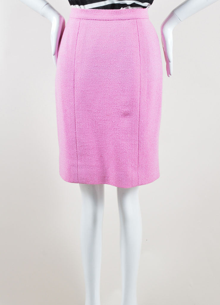 "Chanel Pink Wool Knit ""CC"" Button Pencil Skirt Frontview"