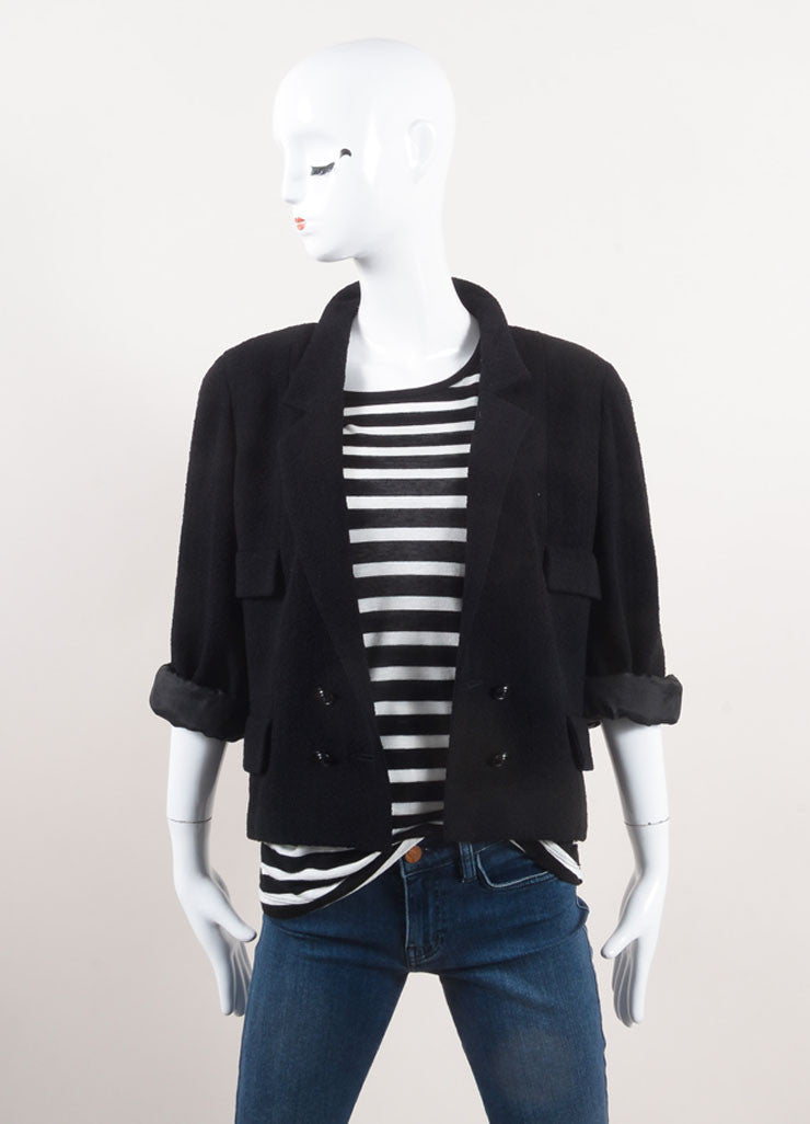 Chanel Black Wool Boucle Knit Double Breasted Crop Sleeve Jacket Frontview