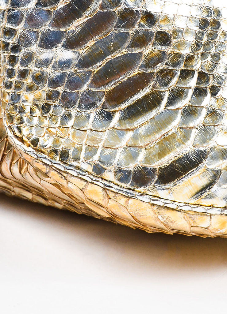 "Gold Chanel Metallic Python ""Rock and Chain"" Hobo Bag Detail 2"