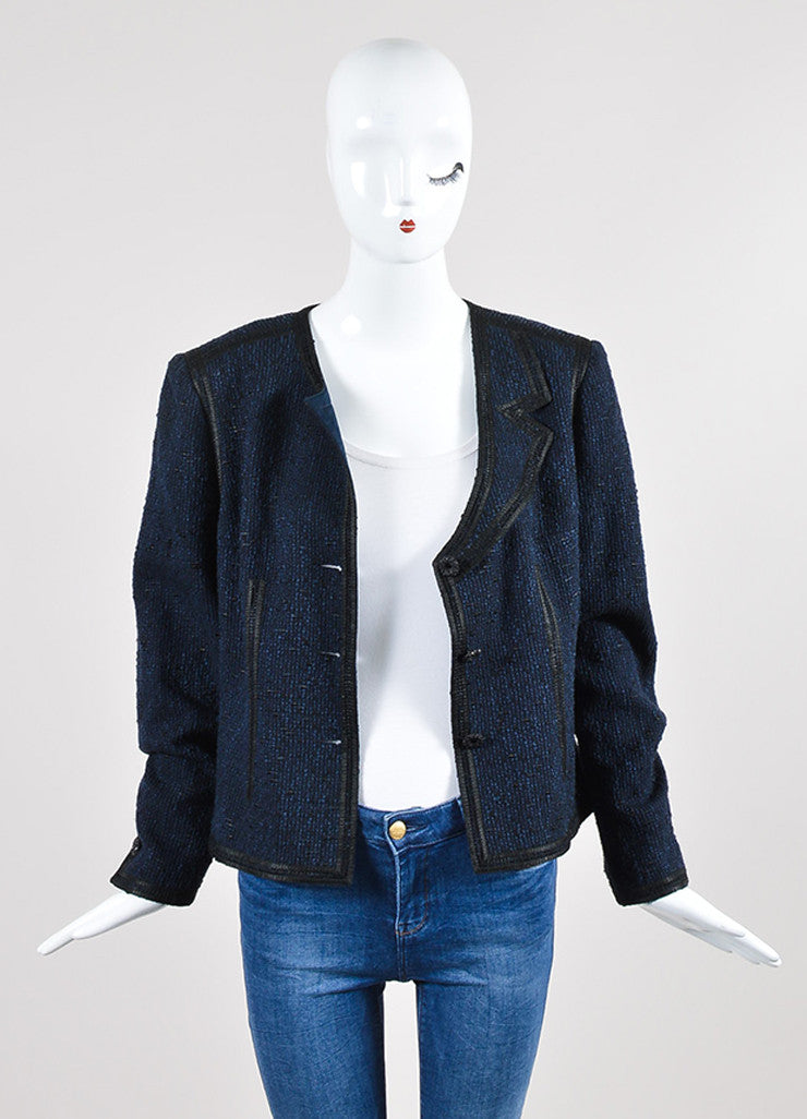 Navy Blue and Black Chanel Woven Knit Asymmetrical Lapel Jacket Frontview