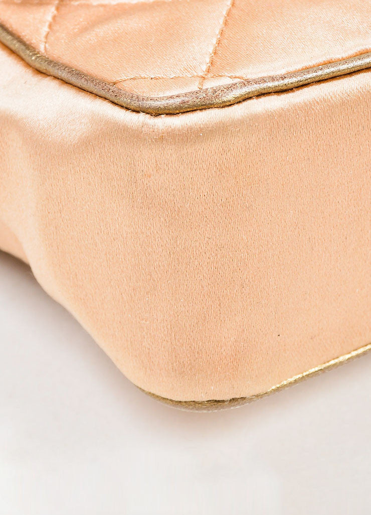 Pink, Pewter, and Gold Toned Chanel Satin and Leather Mini Classic Quilted Flap Evening Bag Detail