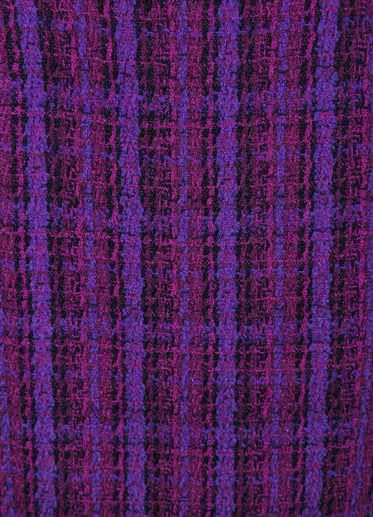 Chanel Purple, Black, and Multicolor Wool Tweed Woven Plaid Pencil Skirt Detail