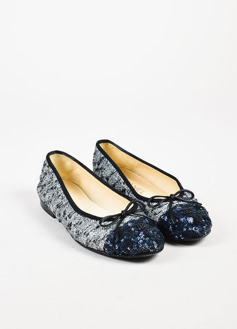 Chanel Silver and Navy Metallic Tweed Sequin Cap Toe 'CC' Ballet Flats Frontview