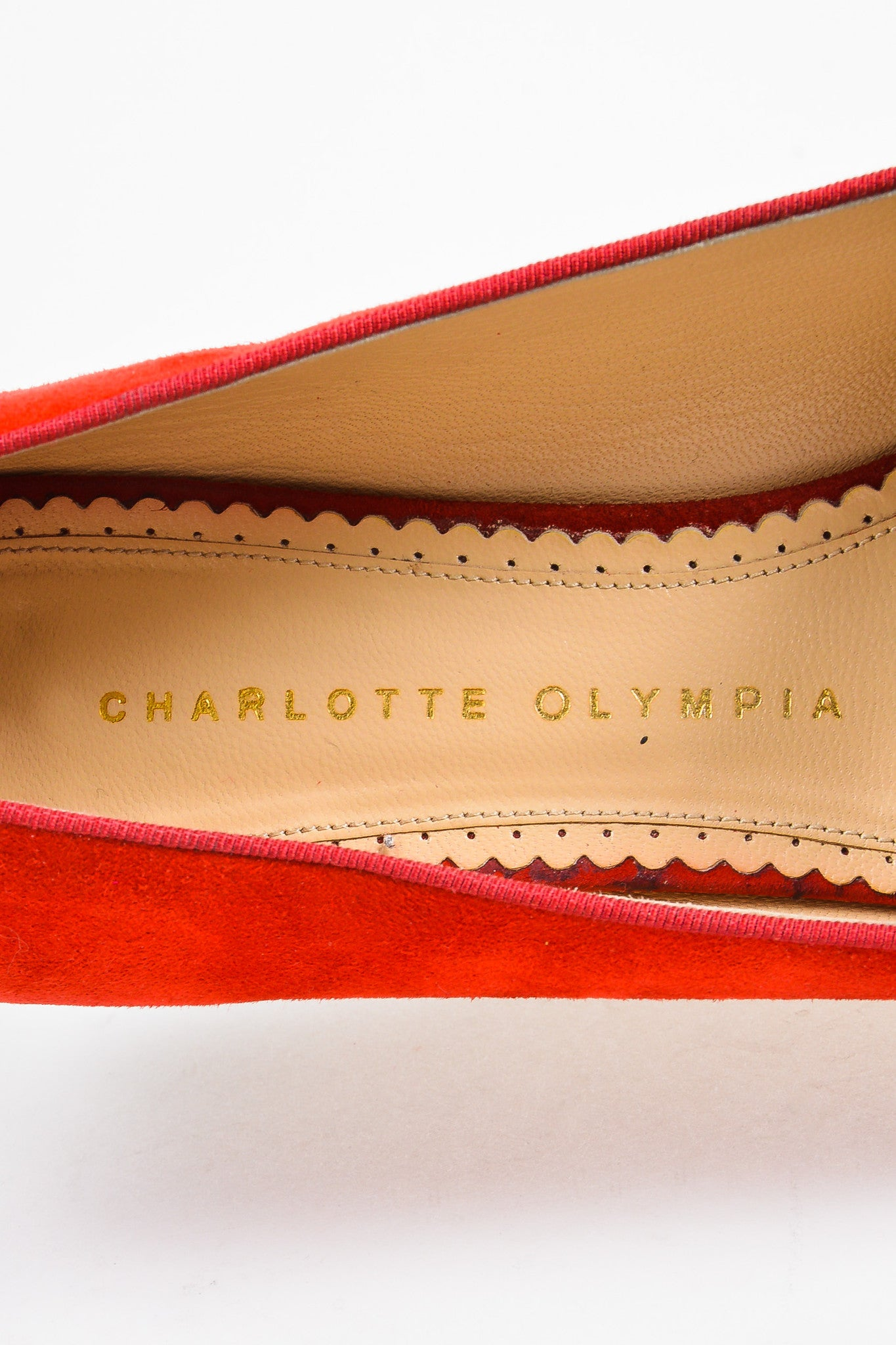 "Charlotte Olympia Red Suede Calf Hair Leopard Print ""Bisoux"" Flats Brand"