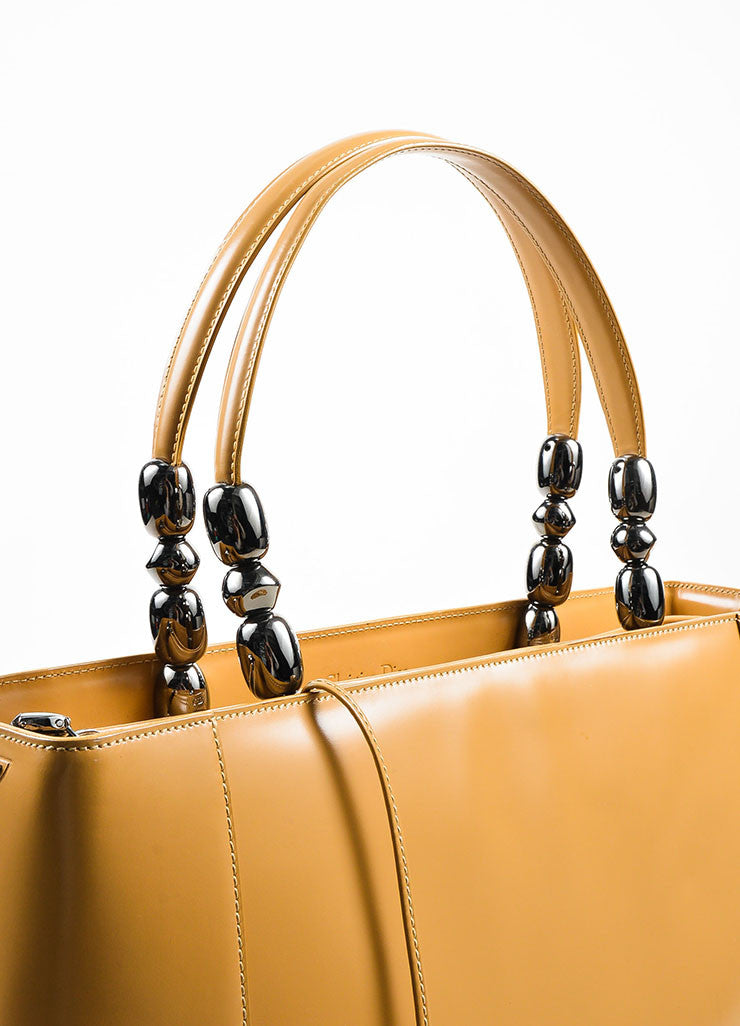 Tan Christian Dior Leather Two Way Tote Bag Detail 2
