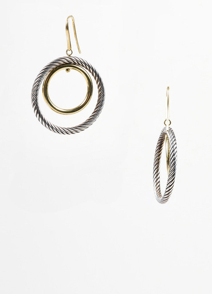 "Sterling Silver and 18K Yellow Gold David Yurman ""Mobile"" Cable Double Hoop Earrings Sideview"