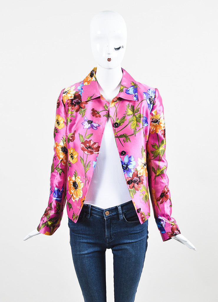 Dolce & Gabbana Pink Multicolor Silk Floral Print Long Sleeve Blazer Frontview