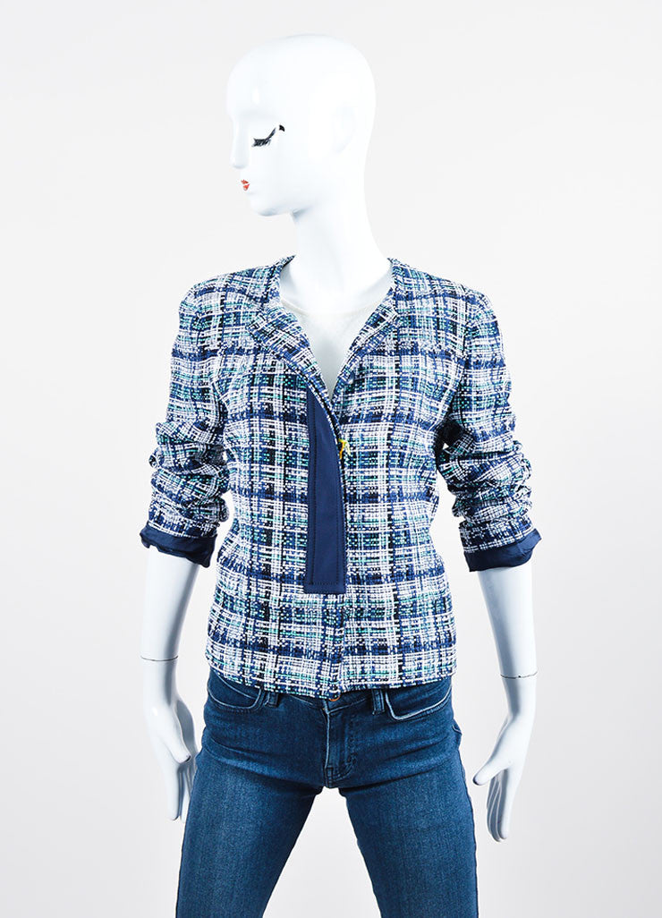 White, Blue and Green Etro Silk Knit Plaid Tweed Jacket Front