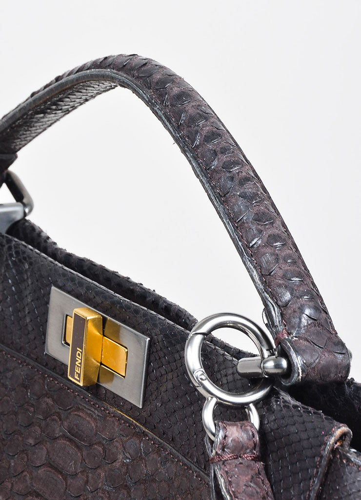 "Brown Fendi Sueded Python Leather ""Large Peekaboo"" Turnlock Tote Bag Detail 2"