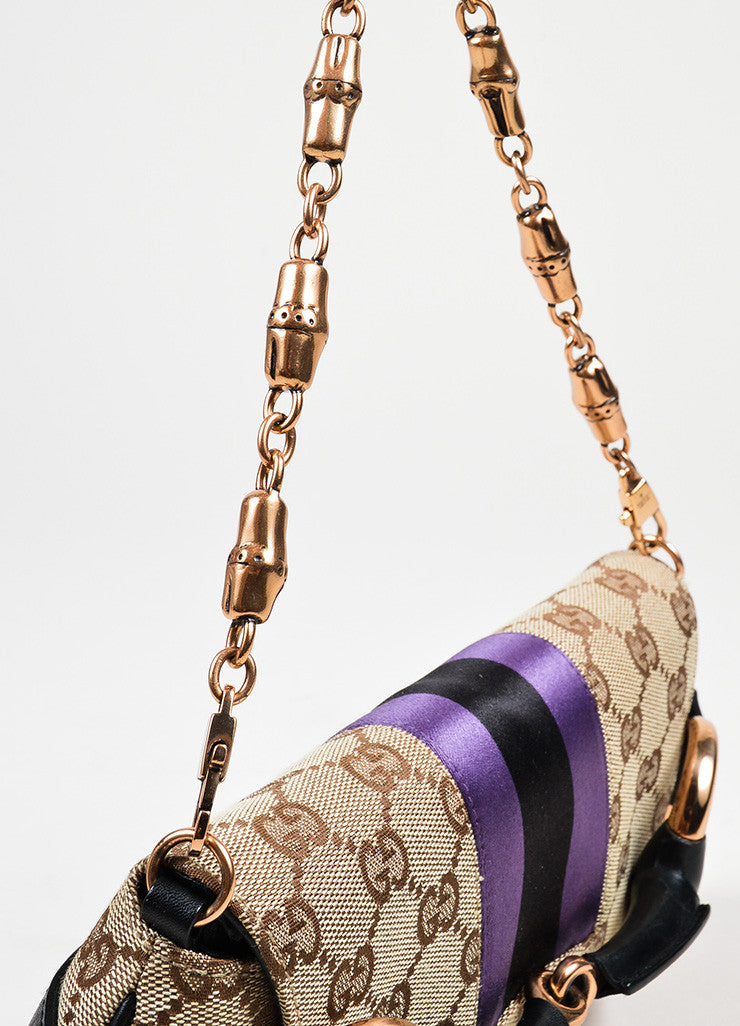 Brown, Black, and Purple Gucci Monogram Canvas Leather Horsebit Chain Strap Clutch Bag Detail 2