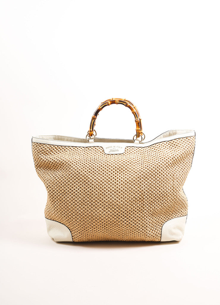 "Gucci Tan and White Woven Straw Leather Trim ""Bamboo Large Shopper"" Tote Bag Frontview"