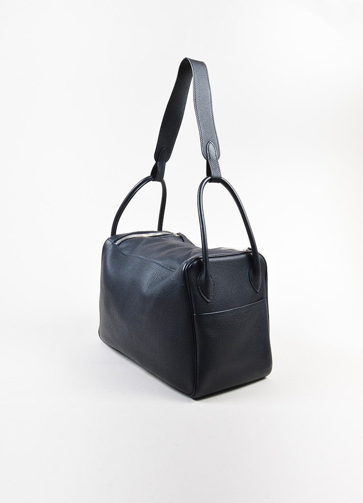 "Black Hermes Clemence Leather Large ""Lindy"" Convertible Bag Sideview"