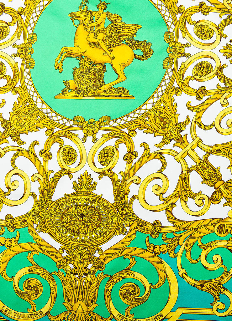 "Hermes Green, White, and Gold Silk Printed ""Les Tuileries"" Scarf Detail"