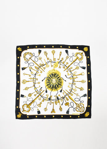 "Hermes White, Gold, and Black Silk Key Tassel Print ""Les Clefs"" 90cm Scarf Frontview 2"