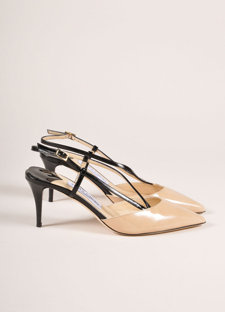 "Jimmy Choo Nude and Black Patent Leather ""Mandy"" Mid Heel Pumps Sideview"