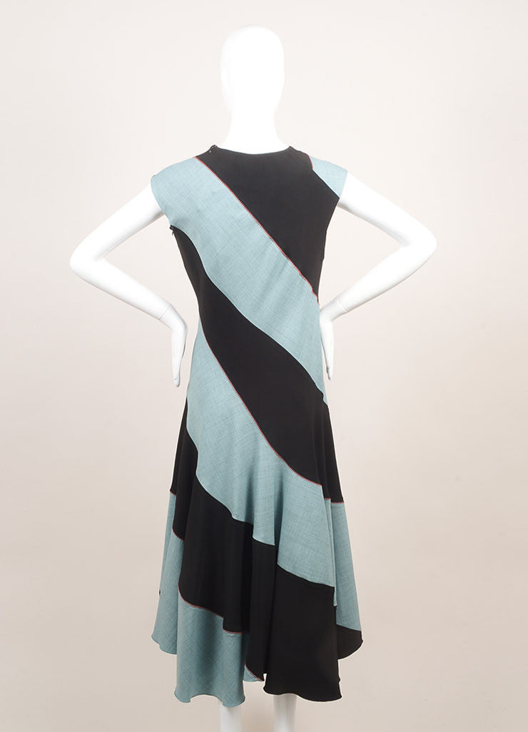 Jonathan Saunders New With Tags Black and Teal Wool Sleeveless A-Line Dress Backview