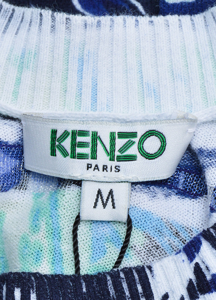 Kenzo Blue and Green Printed Wavy Striped Cropped Sweater Brand