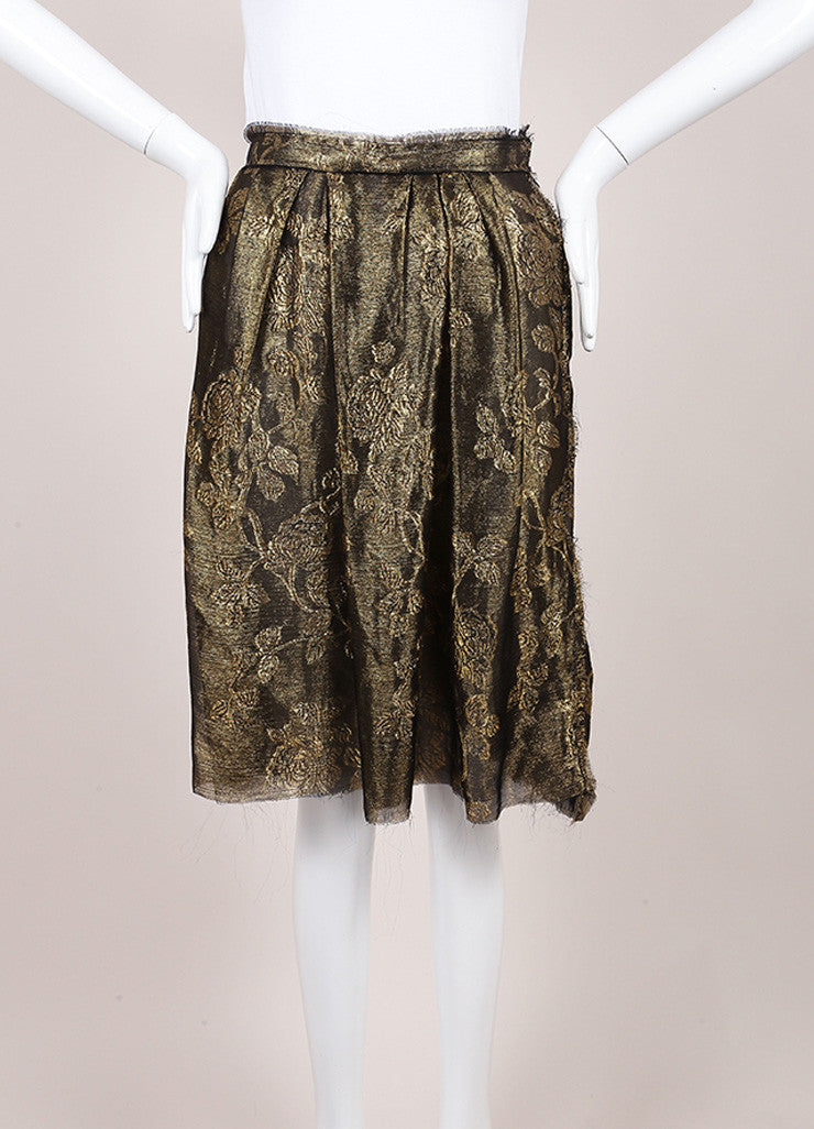 Lanvin Metallic Gold Silk Floral Brocade Pleated A-Line Skirt Frontview