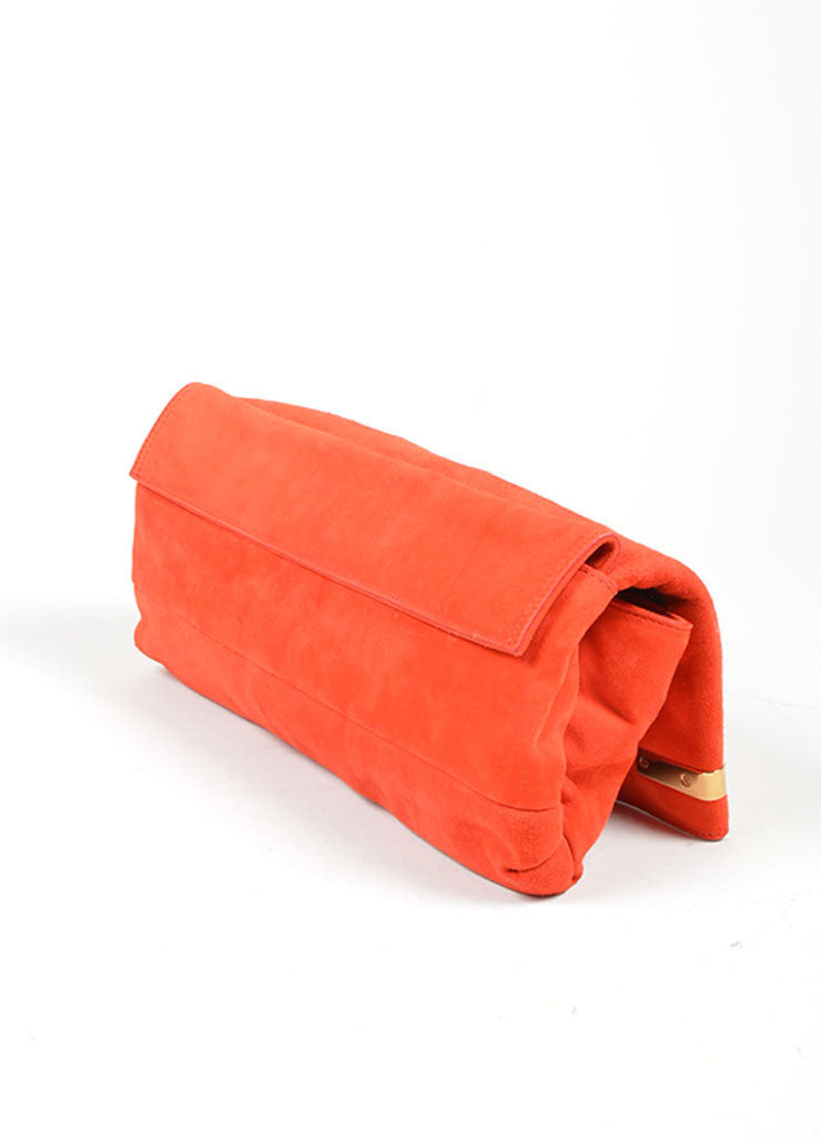 Red and Gold Toned Lanvin Suede Foldover Flap Clutch Bag Sideview