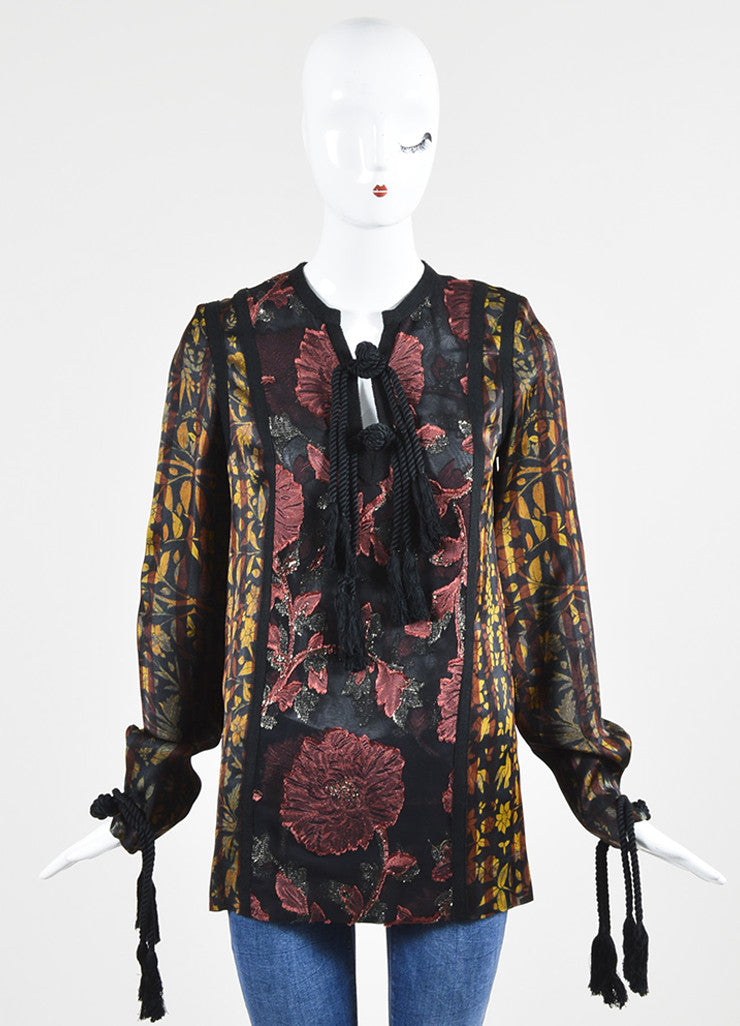 Black, Yellow, and Maroon Lanvin Leaf Print Tassel Tunic Blouse Frontview