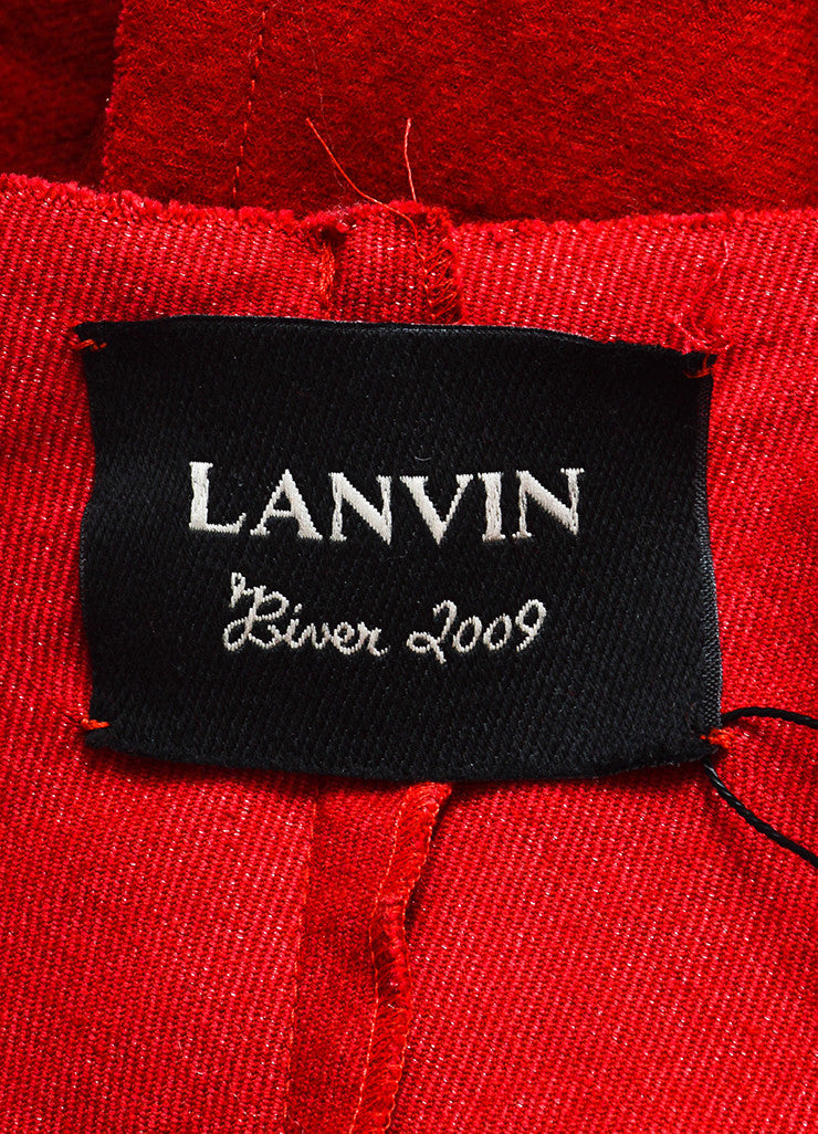 Red Lanvin Wool, Cotton, and Cashmere Pleated Raw Edge Long Duster Coat Brand
