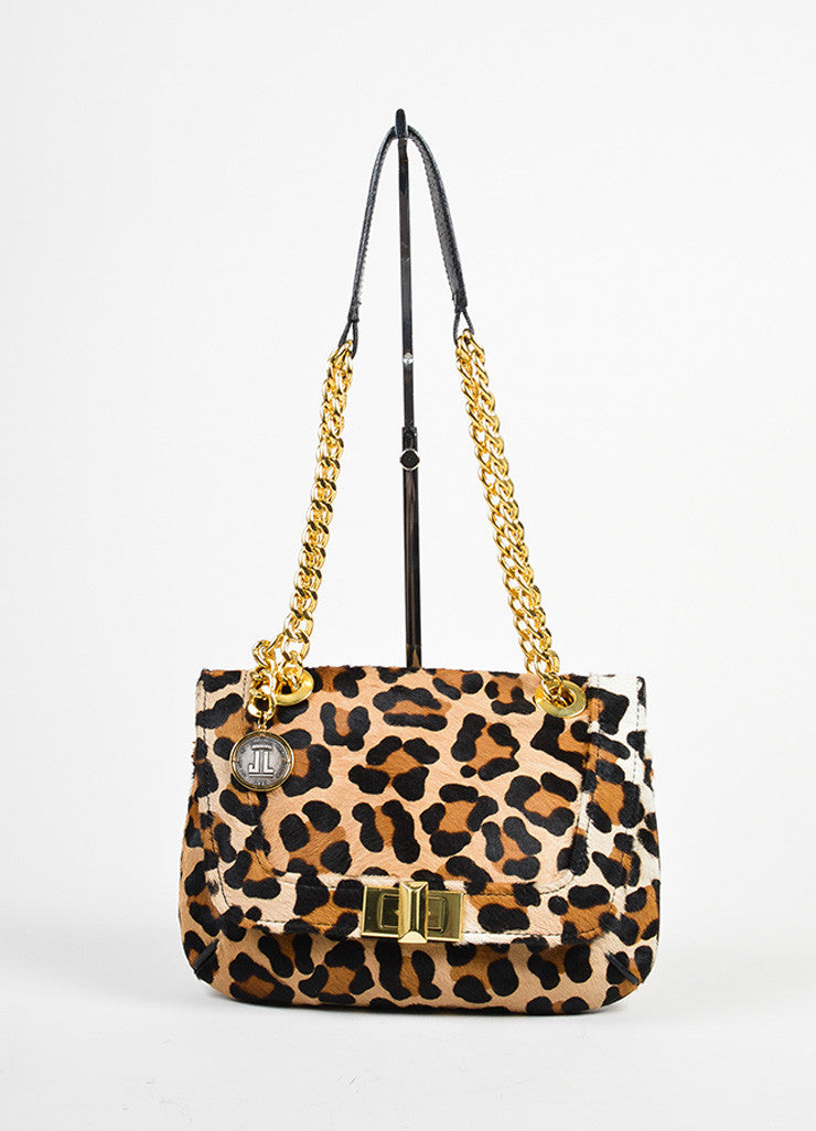 Brown and Black Lanvin Pony Hair Leather Leopard Print Chain Strap Shoulder Bag Frontview