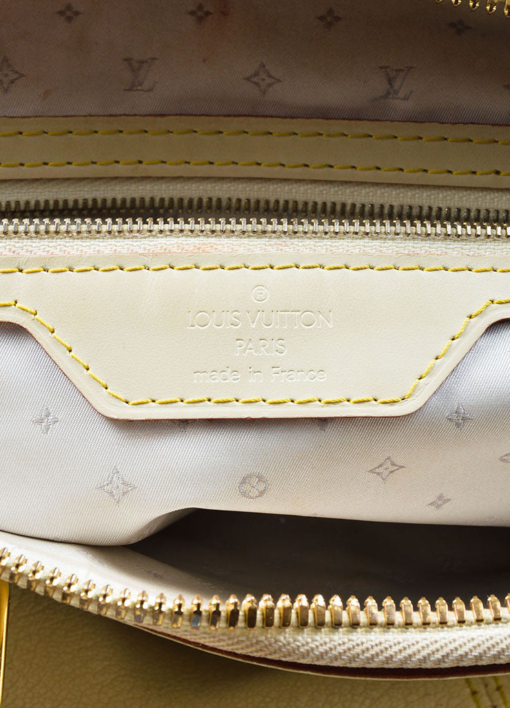 "Cream and Gold Toned Louis Vuitton Suhali Leather Studded ""Lockit PM"" Tote Bag Brand"