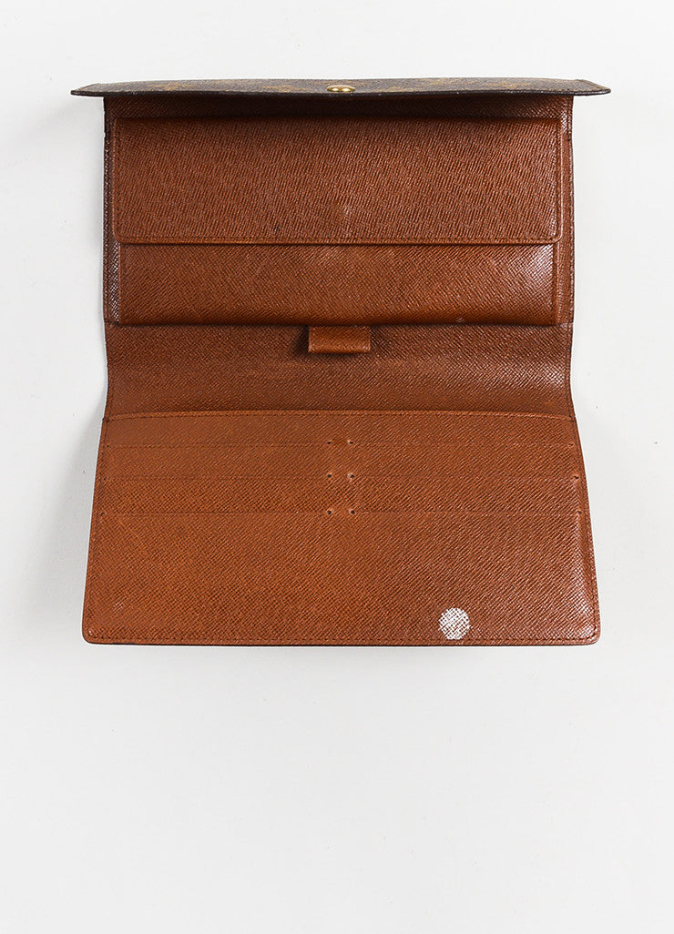 "Brown Louis Vuitton Canvas ""Porte-Tresor International"" Wallet Detail  3"