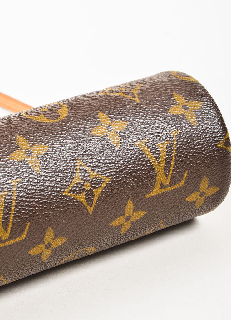 "Louis Vuitton Brown and Tan Coated Canvas and Leather ""Mini Papillon"" Cylinder Bag Bottom View"