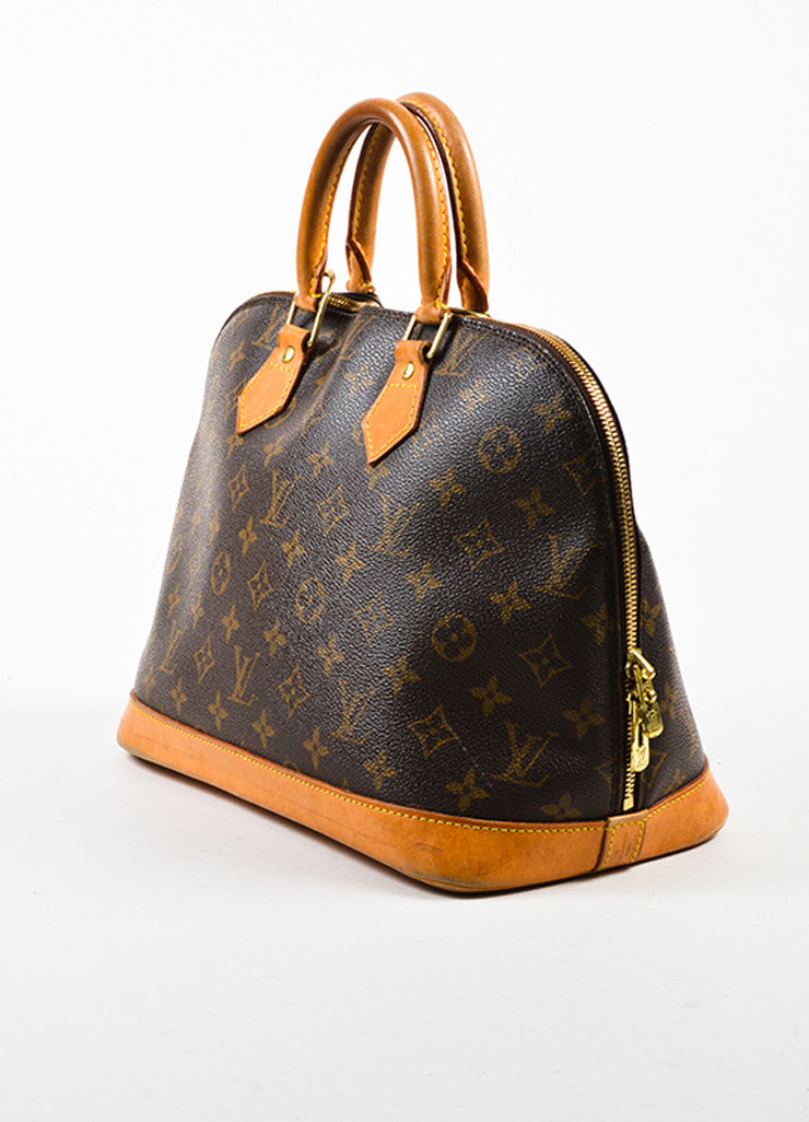 "Louis Vuitton Brown Tan Coated Canvas Leather Monogram ""Alma PM"" Bag Back"