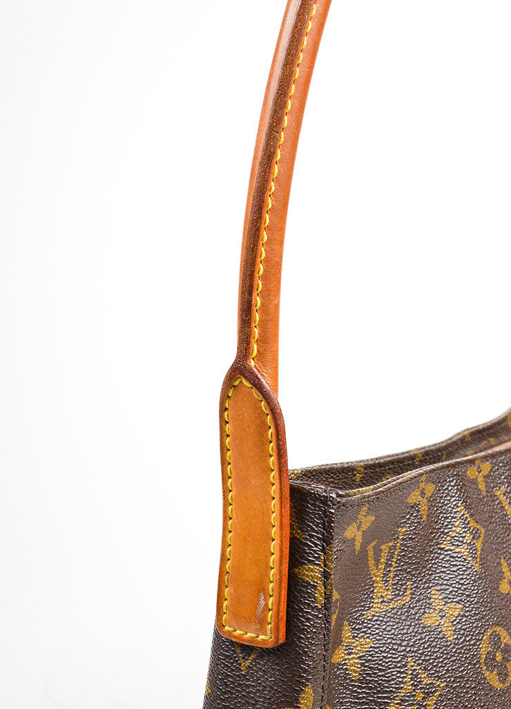"Louis Vuitton Brown and Tan Coated Canvas Leather Monogram ""Looping MM"" Hobo Bag Detail 2"