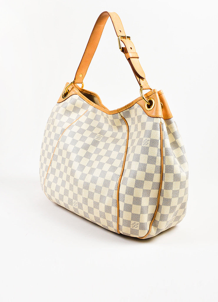 "Louis Vuitton Damier Azur Coated Canvas ""Galliera PM"" Slouchy Shoulder Bag Sideview"