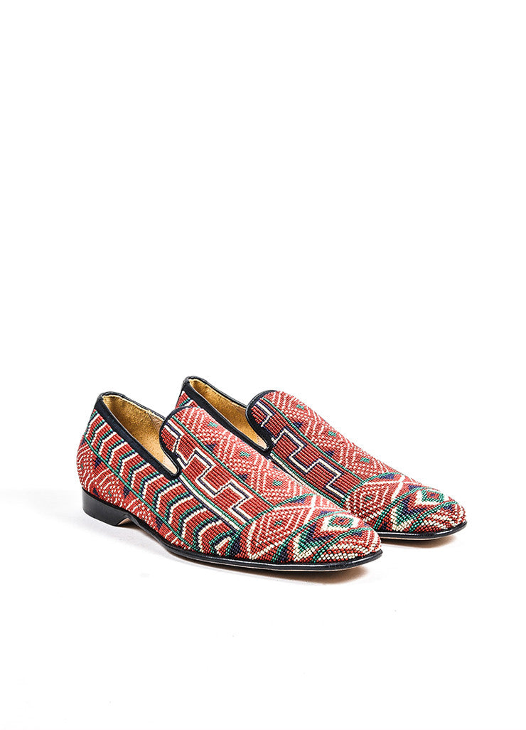 Men's Donald J Pliner Red Black Multicolor Canvas Beaded Loafers Front