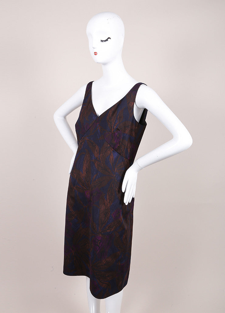 Marc Jacobs New With Tags Brown, Blue, and Purple Leaf Print Sleeveless Cotton Sheath Dress Sideview