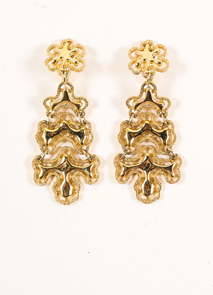 Monet Gold Toned Abstract Textured Chain Link Drop Earrings Frontview