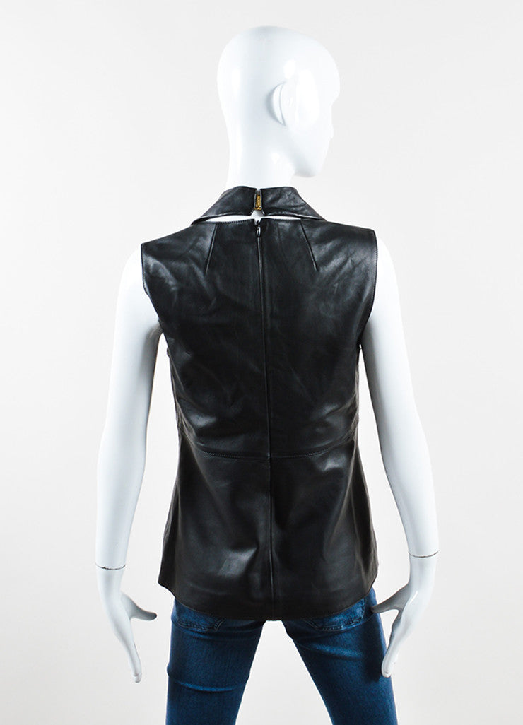 Mulberry Black Leather Cowl Neck Sleeveless Top Backview