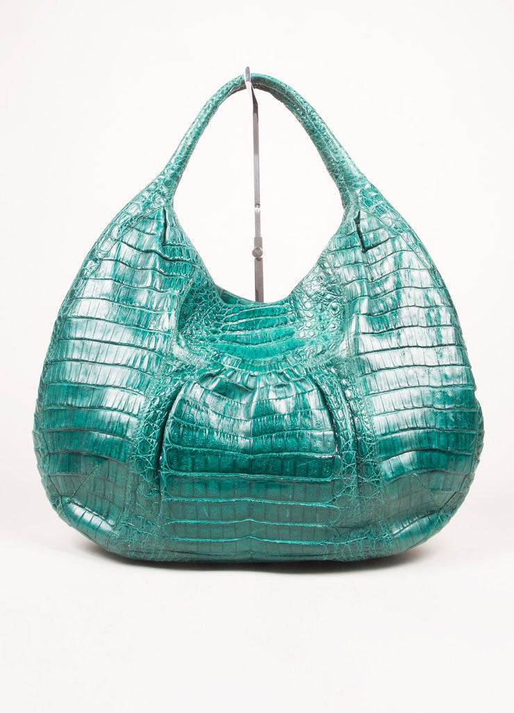 Nancy Gonzalez Green Crocodile Leather Hobo Shoulder Bag Frontview
