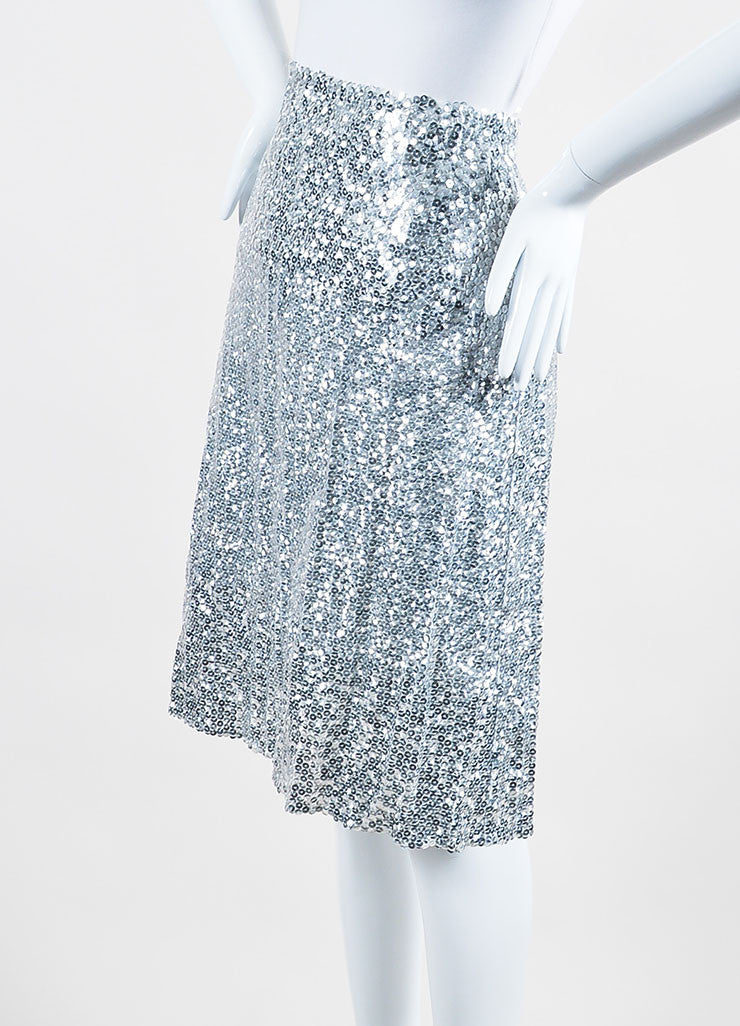 Silver Nina Ricci Silk and Shimmering Sequin A-Line Skirt Sideview