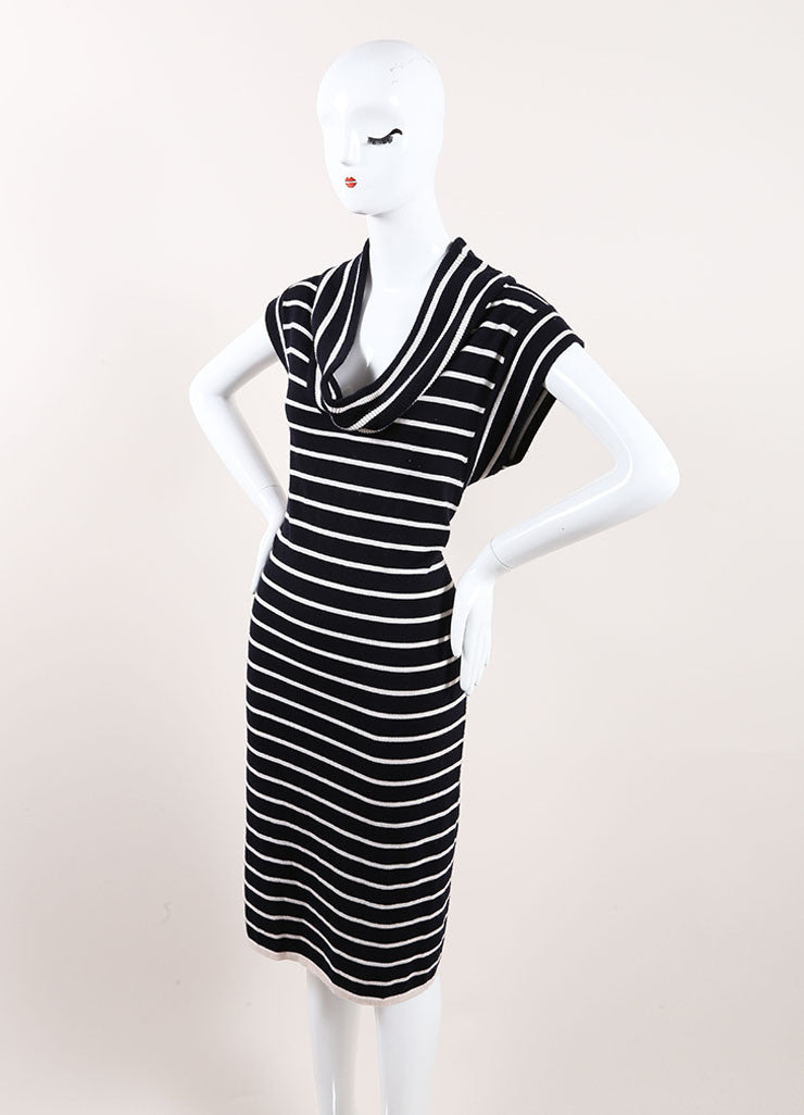 Oscar de la Renta New With Tags Navy and Cream Cashmere and Silk Stripe Sweater Dress Sideview