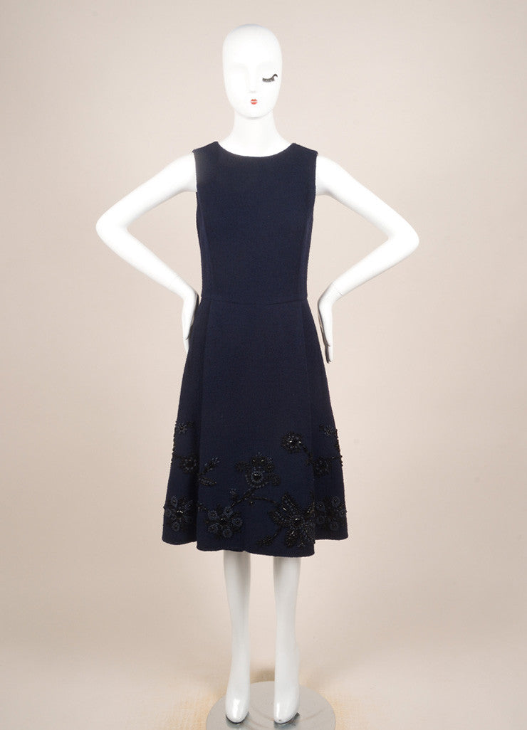 Oscar de la Renta Navy Wool Floral Beaded Embroidered Sleeveless Dress Frontview