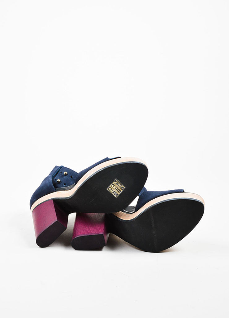 Navy and Maroon Pierre Hardy Suede Leather and Wood Sandals Outsoles