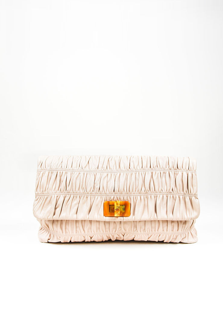 "Blush Prada Leather Ruched ""Napa Gaufre"" Large Clutch Front"