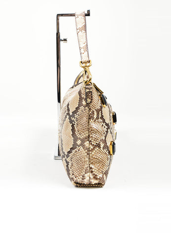 Beige, Brown, and Black Prada Python Leather Jeweled Front 2 Way Shoulder Bag Sideview