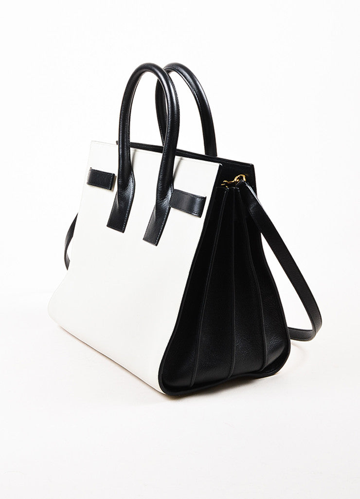 "¥éËSaint Laurent Light Grey and Black Leather Color Block ""Small Sac de Jour"" Tote Bag Sideview"