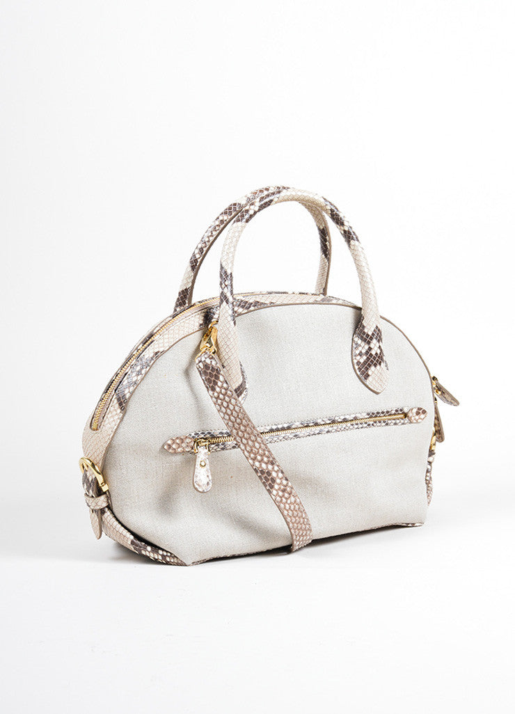 "Salvatore Ferragamo Taupe Canvas and Snakeskin ""Fiamma"" Shoulder Bag Backview"