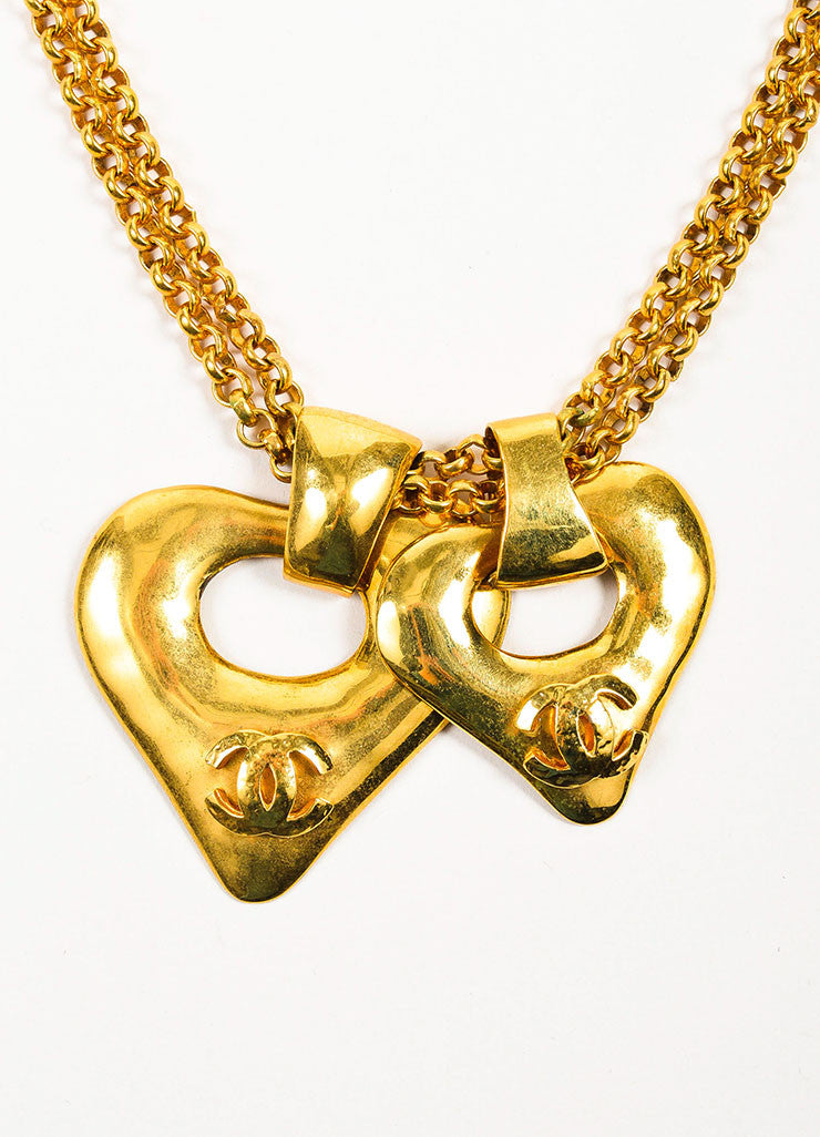 Gold Toned Chanel 'CC' Logo Double Heart Pendant Chain Necklace Detail