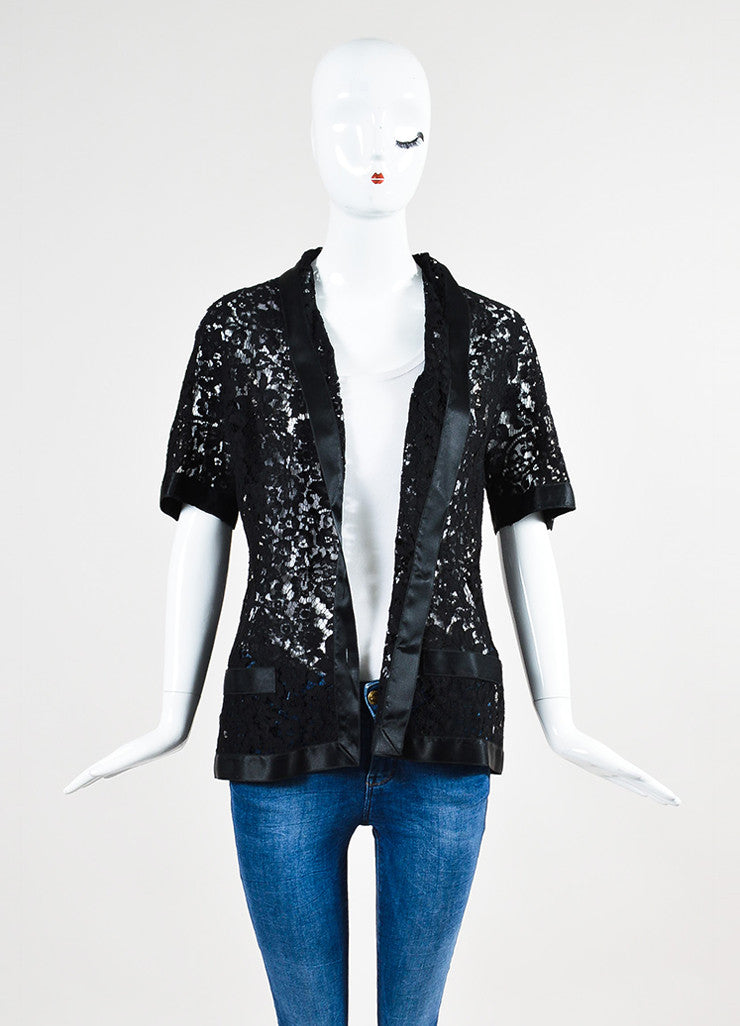 Chanel Black Lace Satin Camellia Pearl Flower Button Jacket Frontview