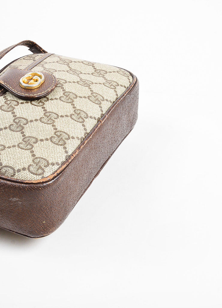 Gucci Beige and Brown Coated Canvas and Leather 'GG' Monogram Cross Body Bag Bottom View