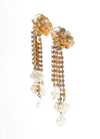 Kenneth Jay Lane Gold Toned Dangling Rhinestone and Faux Pearl Earrings Sideview